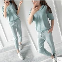 Clospace - Set: Elbow-Sleeve Hooded V-Neck Knit Top + Harem Sweatpants
