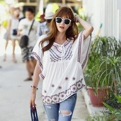 REDOPIN - Short-Sleeve Tiered-Neck Embroidered Top