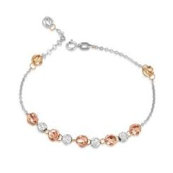 MaBelle - 14K/585 Tri-Color Gold Two-style Balls Bracelet