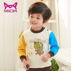 MiiOW - Kids Cartoon Print Color Block Sweatshirt