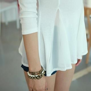 WHITE FOX - 3/4-Sleeve Peplum Top
