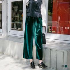 OrangeBear - Sheeny Velvet Drawstring Gaucho Pants