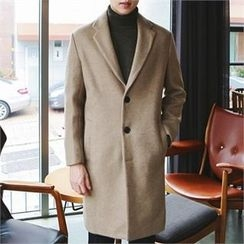 MITOSHOP - Single-Breasted Wool Blend Coat