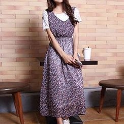 Isadora - Set: Lace Short Sleeve T-Shirt + Floral Print Maxi Pinafore Dress