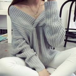 芙苪FR - V領粗織毛衣