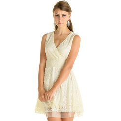 59 Seconds - Wrap-Front Lace Sleeveless Cocktail Dress