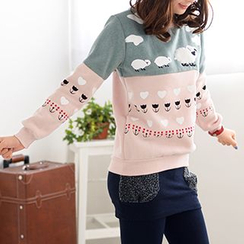 59 Seconds - Two-Tone Sheep Print Pullover