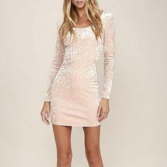 Rampi - Velvet Long-Sleeve Bodycon Dress