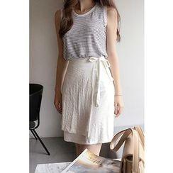 CHERRYKOKO - Linen Blend A-Line Wrap Skirt