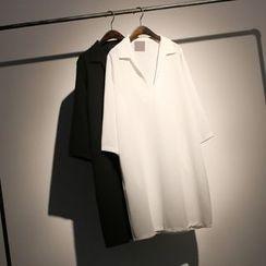 somniaa - 七分袖半襟衬衫裙
