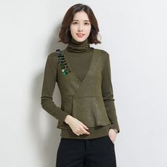 Romantica - Set: Long-Sleeve Mock-Neck Top + Paneled Vest
