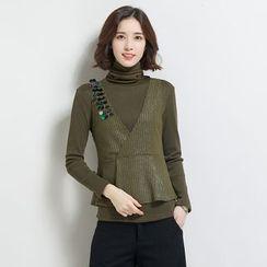 Romantica - 套裝: 長袖高領上衣 + 拼接馬甲