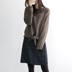 JUSTONE - Plaid Wool Blend Mini Wrap Skirt