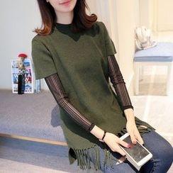 Ageha - Set: Long-Sleeve Top + Fringe Hem Short-Sleeve Knit Top