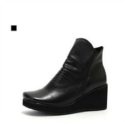 MODELSIS - Genuine Leather Wedge-Heel Ankle Boots
