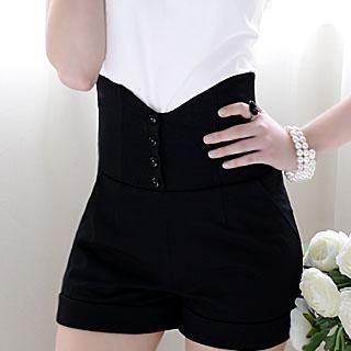 Dabuwawa - High-Waist Buttoned Cuff Shorts