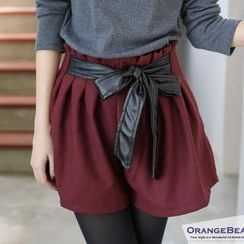 OrangeBear - Tie-Waist Pleated Shorts