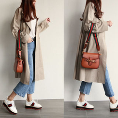 NIPONJJUYA - A-Line Long Cotton Trench Coat