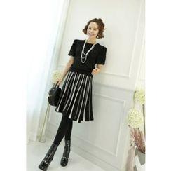 Lemite - Stripe Wool Blend Flare Skirt