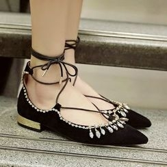 JY Shoes - Rhinestone Lace Up Flats
