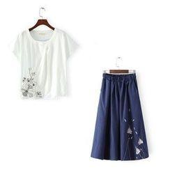 RainbowDay - Set: Short-Sleeve Embroidered Top + Midi Skirt