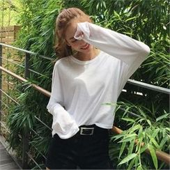 QNIGIRLS - Drop-Shoulder Long-Sleeve T-Shirt