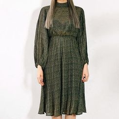 chuu - Balloon-Sleeve Gathered-Waist Herringbone Chiffon Dress