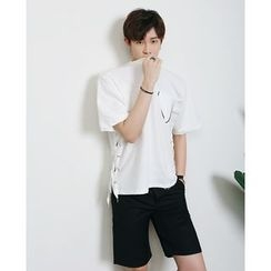 Mr. Cai - Short-Sleeve Lace-Up Top