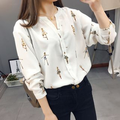 Mori Girls - Printed Chiffon Blouse