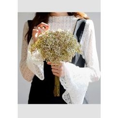 DEEPNY - Mock-Neck Long-Sleeve Lace Top