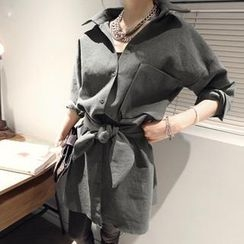 NANING9 - Drop-Shoulder Shirt Dress with Sash