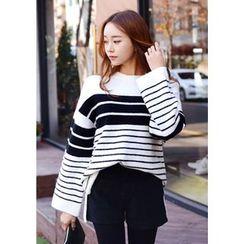 DEEPNY - Wide-Sleeve Striped Sweater