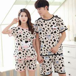 PJ Party - Couple Matching Pajama Set: Short-Sleeve Cow T-Shirt + Shorts