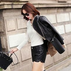 Romantica - Faux-Leather Studded Shorts