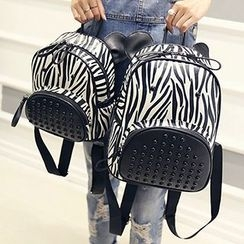 Bibiba - Zebra Printed Studded Backpack
