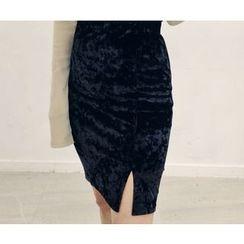 HOTPING - Band-Waist Velvet Skirt