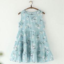11.STREET - Floral Print Linen Cotton Sleeveless Dress