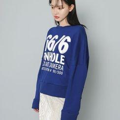 Envy Look - Drop-Shoulder Lettering Sweatshirt