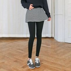 Seoul Fashion - Inset Stripe Skirt Leggings