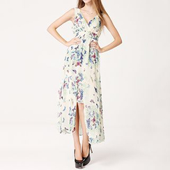 Rebecca - Butterfly Print V-Neck Slit Maxi Dress