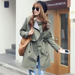 REDOPIN - Double-Breasted Flap Trench Coat