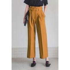 migunstyle - Belted-Detail Dress Pants
