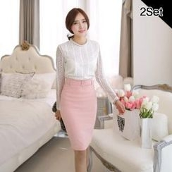 SUVINSHOP - Set: Zip-Back Mesh Lace-Sleeve Top + Pencil Skirt with Belt