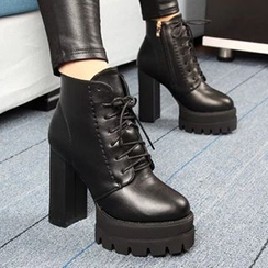 Forkix Boots - Lace-Up Chunky Heel Platform Ankle Boots