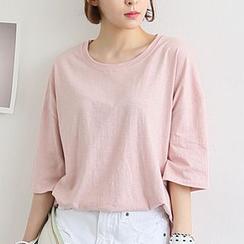Seoul Fashion - 圆领垂肩 T 恤