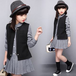 Pegasus - Kids Set : Plain Vest + Pleated Long-Sleeve Dress