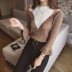 Cocofield - Open Shoulder Elbow-Sleeve Knit Top