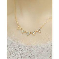 soo n soo - Rhinestone Triangle Pendant Necklace