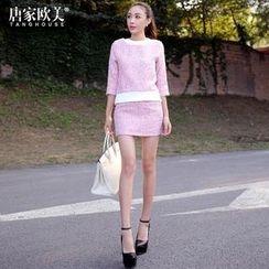 Tang House - Set: 3/4-Sleeve Tweed Knit Top + Tweed Skirt