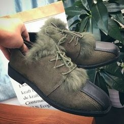 SouthBay Shoes - Furry Trim Faux Leather Panel Oxfords